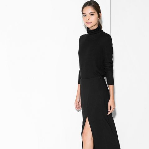 Turtleneck + Slit Skirt