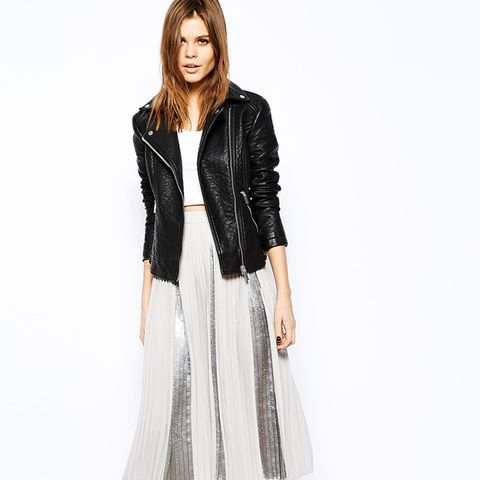 Moto Jacket + Metallic Midi Skirt