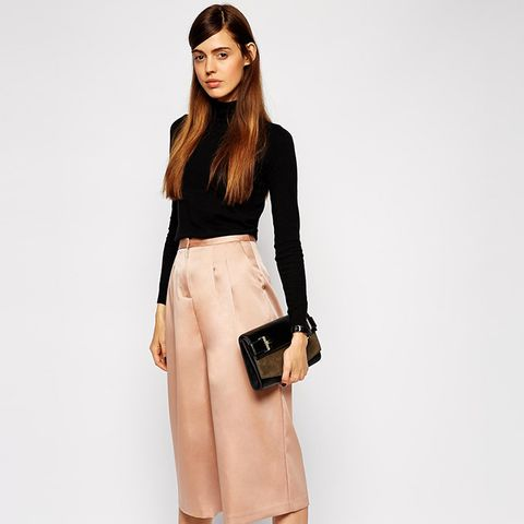 Turtleneck + Satin Culottes
