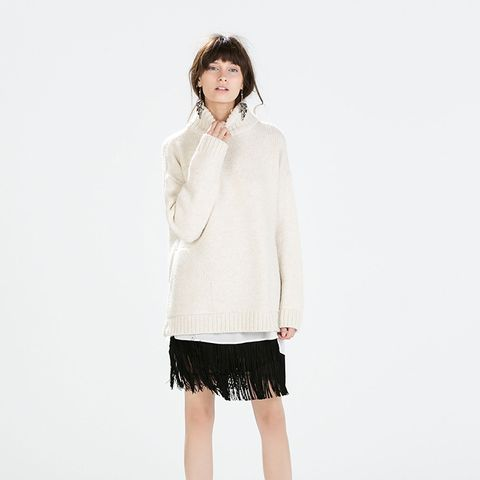 Oversized Knit + Fringe Skirt