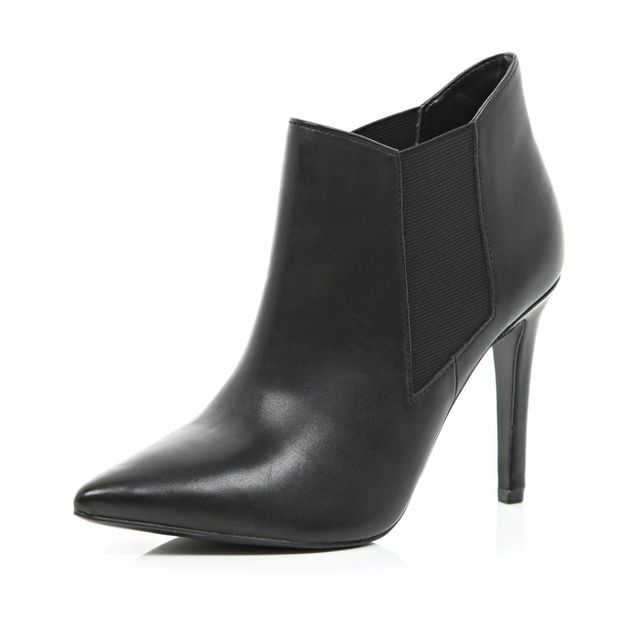 River Island Black Point Stiletto Ankle Boots