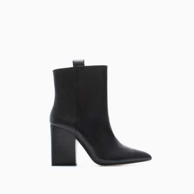 Zara High-Heeled Leather Cowboy Booties