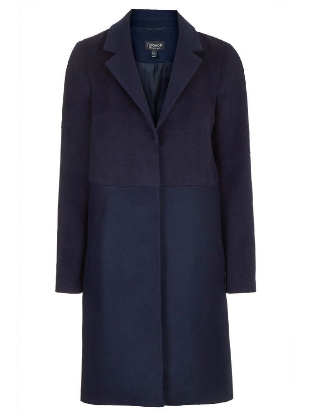 Topshop Wool-Blend Contrast Hybrid Coat