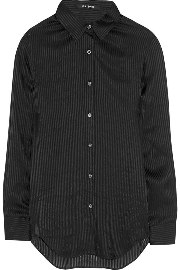 BLK DNM 62 Satin-Striped Silk-Georgette Shirt
