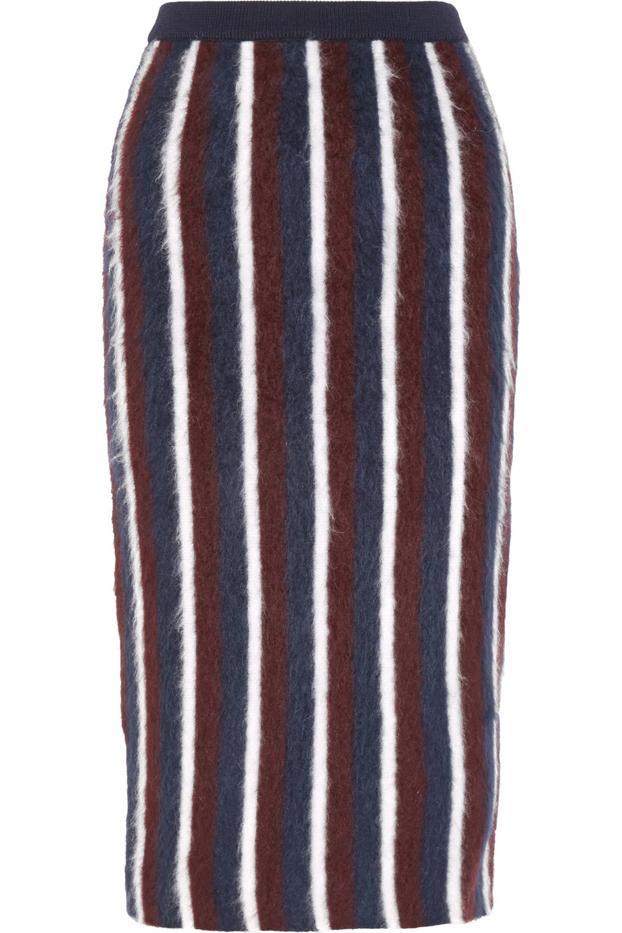 Joseph Striped Brushed Wool-Blend Midi Skirt