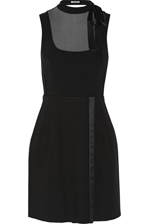 Miu Miu Chiffon-Trimmed Cady and Wool-Crepe Mini Dress