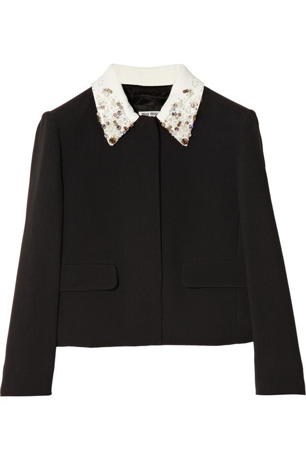 Miu Miu Embellished-Collar Cady Jacket
