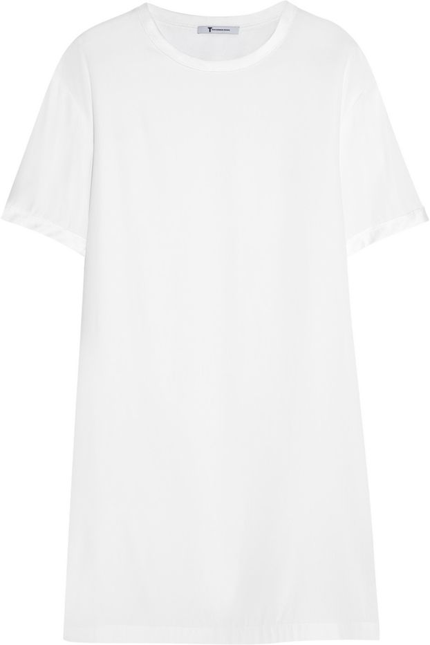 T by Alexander Wang Washed Stretch-Silk Charmeuse Mini Dress