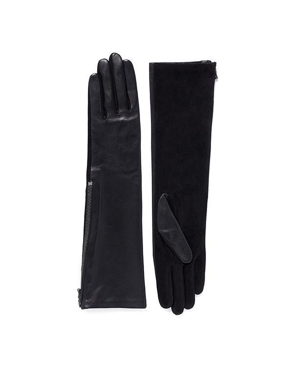 Lanvin Gladia Medium Leather Goat Suede Zip Gloves