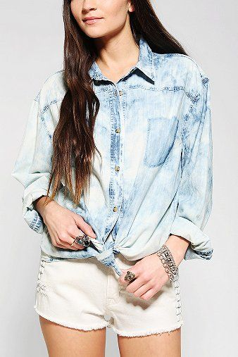 Sparkle & Fade  Oversized Chambray Shirt
