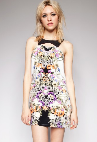 Pixie Market Cutout Mirrored Floral Dress