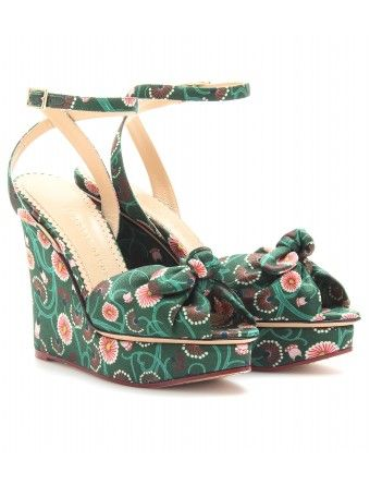 Charlotte Olympia  Miranda Satin Wedge Sandals