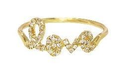 Sydney Evan  Yellow-Gold & Pave Diamond Love Ring