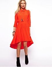 ASOS Shirt Dress With Dipped Hem And Cold Shoulder