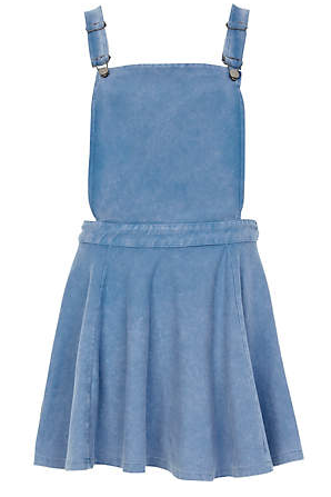 River Island Mid Wash Denim Pinafore Skater Dress