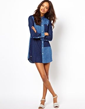 White Chocolate Patchwork Denim Shirt Dress