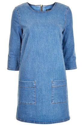 Topshop Mid Wash Denim Tunic Dress