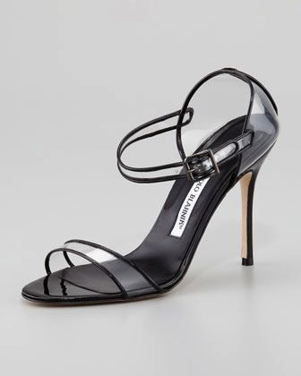 Manolo Blahnik Manolo Blahnik Fersen See-Through Mary Jane Sandals