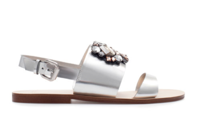 Zara Metallic Sandals with Rhinestones