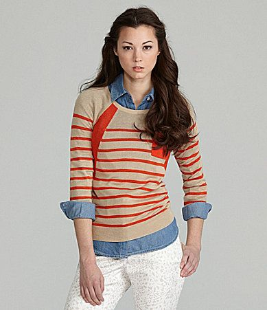 TWO by Vince Camuto Raglan Stripe Sweater