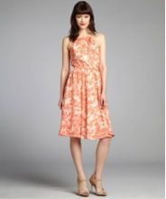 Pippa Coral And Cream Floral Printed Silk Chiffon Halter Dress