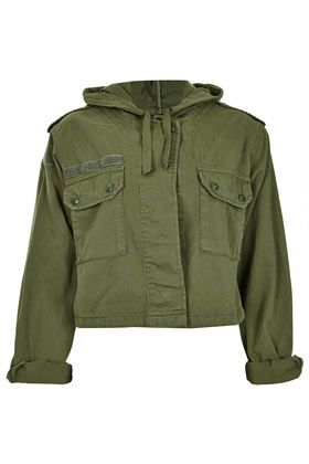 Topshop  Hooded Crop Army Jacket