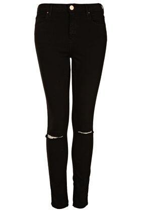 Topshop Moto Black Rip Knee Jamie Jeans