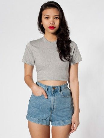 American Apparel  Poly-Cotton Form Fit Crop Tee