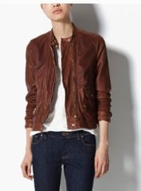 Massimo Dutti  Brown Leather Jacket with Pockets
