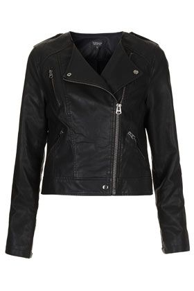 Topshop  Collarless Biker Jacket