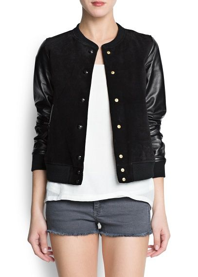 Mango  Leather Sleeved Bomber Jacket