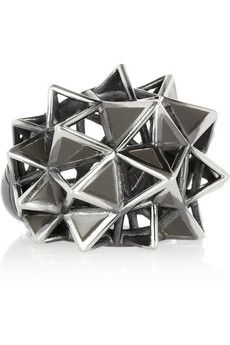 Bottega Veneta  Blackened Sterling Silver Caged Spike Ring