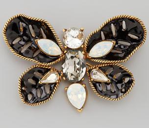 Oscar de la Renta Multi-Stone Butterfly Brooch