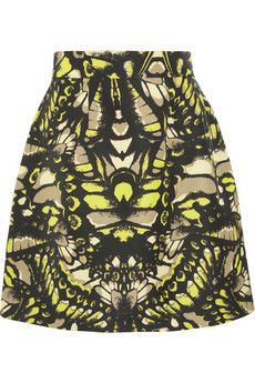 McQ Alexander McQueen Butterfly Camouflage Printed Cotton-Blend Faille Skirt
