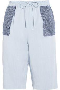Thakoon Addition  Contrast-Paneled Brushed Chambray Shorts