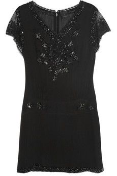 Anna Sui  Beaded Silk-Georgette Tunic