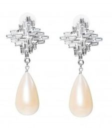 K. Schloss Shopbevel Gatsby Slice & Pearl Earrings