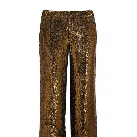 Cropped Sequined Silk Wide-Leg Pants