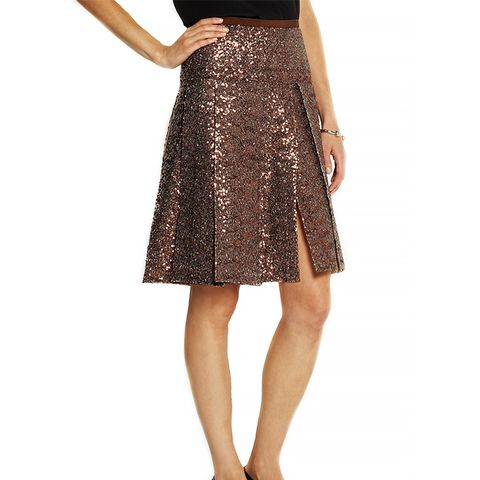 Glenda Pleated Sequined Chiffon Skirt