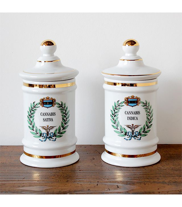 Nickey Kehoe Gilded Cannabis Apothecary Jars