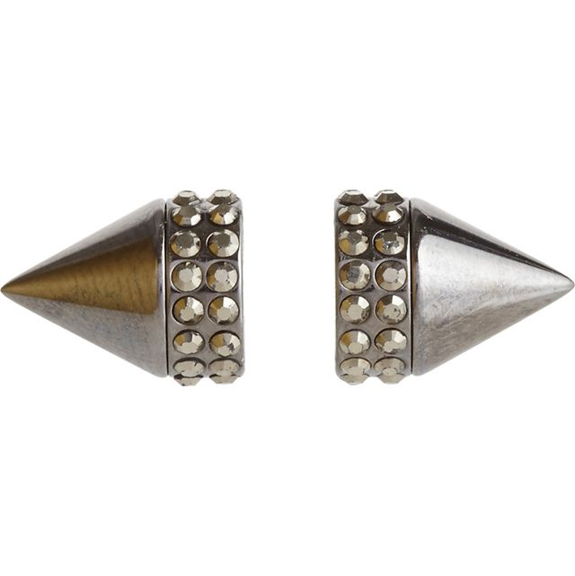Givenchy Pale Gold & Crystal Small Double Cone Shark Earring