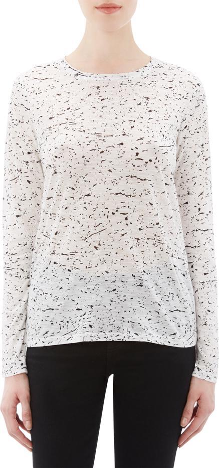 Proenza Schouler Splatter-Print Slub Jersey T-Shirt