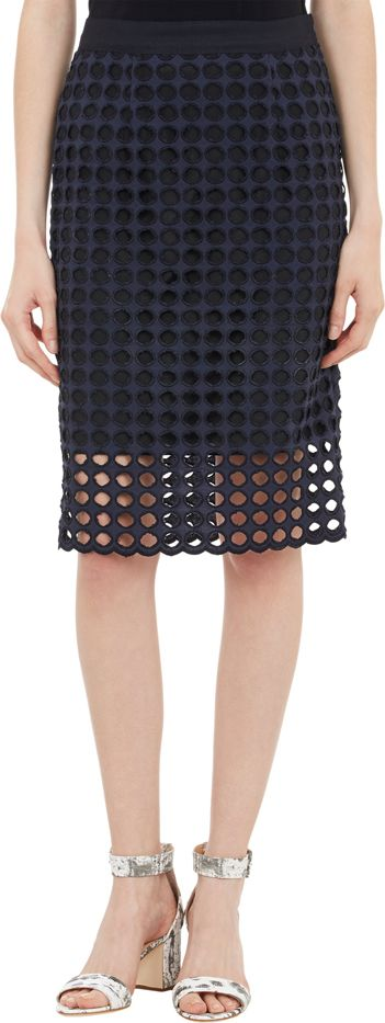 Sea Circular Eyelet Pencil Skirt