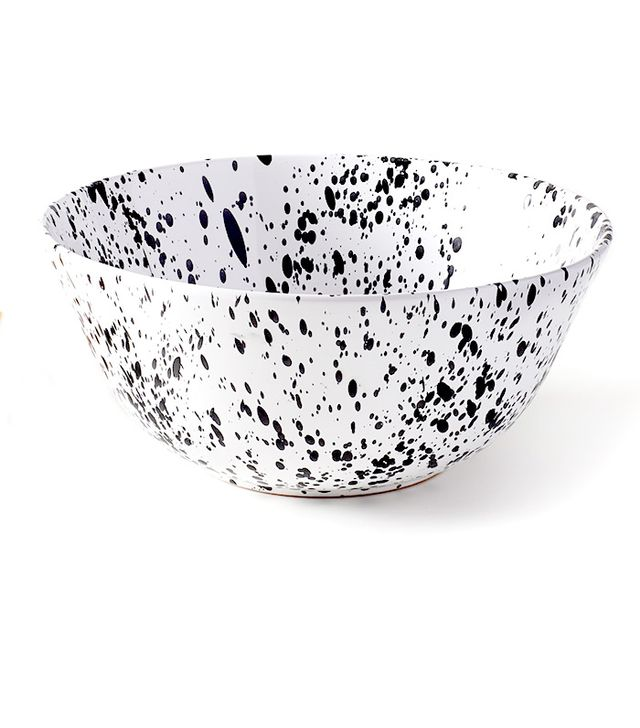 MARCH Black on White Spatterware Serving Bowl
