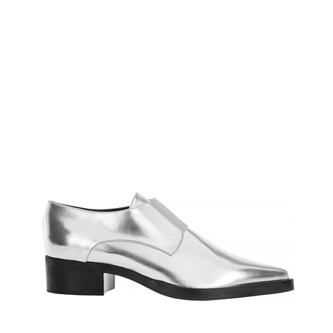 Metallic Faux Leather Loafers