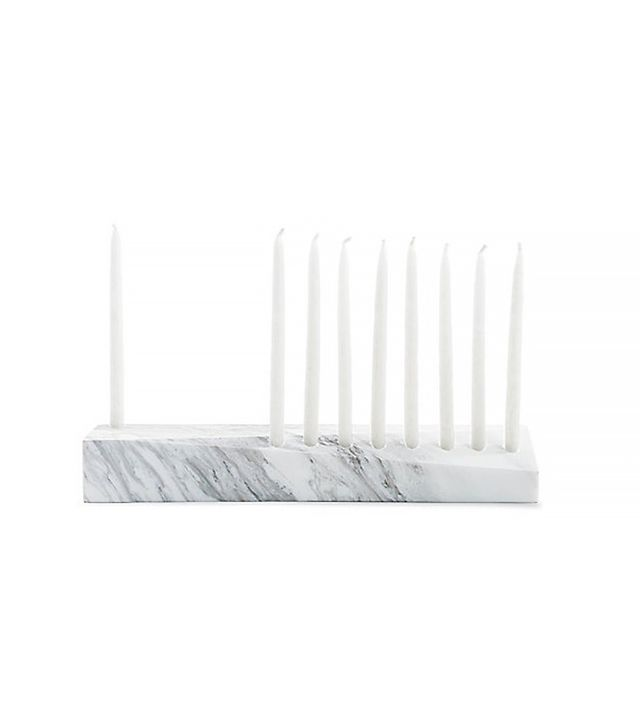 White Marble Ascalon Menorah with Candles