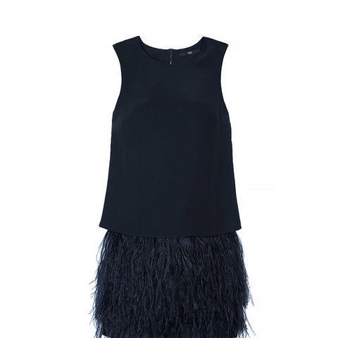 Cera Tuxedo Feather Trim Dress