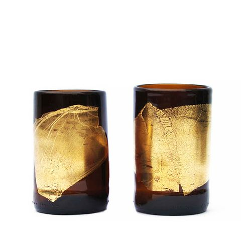 Gold Leaf Beer Bottle Tumblers