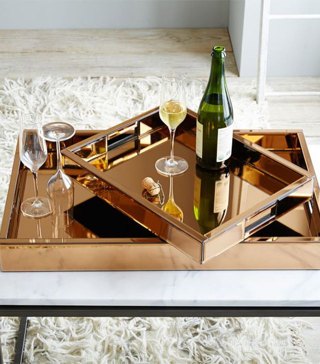 West Elm West Elm Mirror Glass Copper Tray