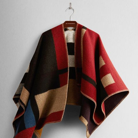 Colour Block Check Blanket Poncho